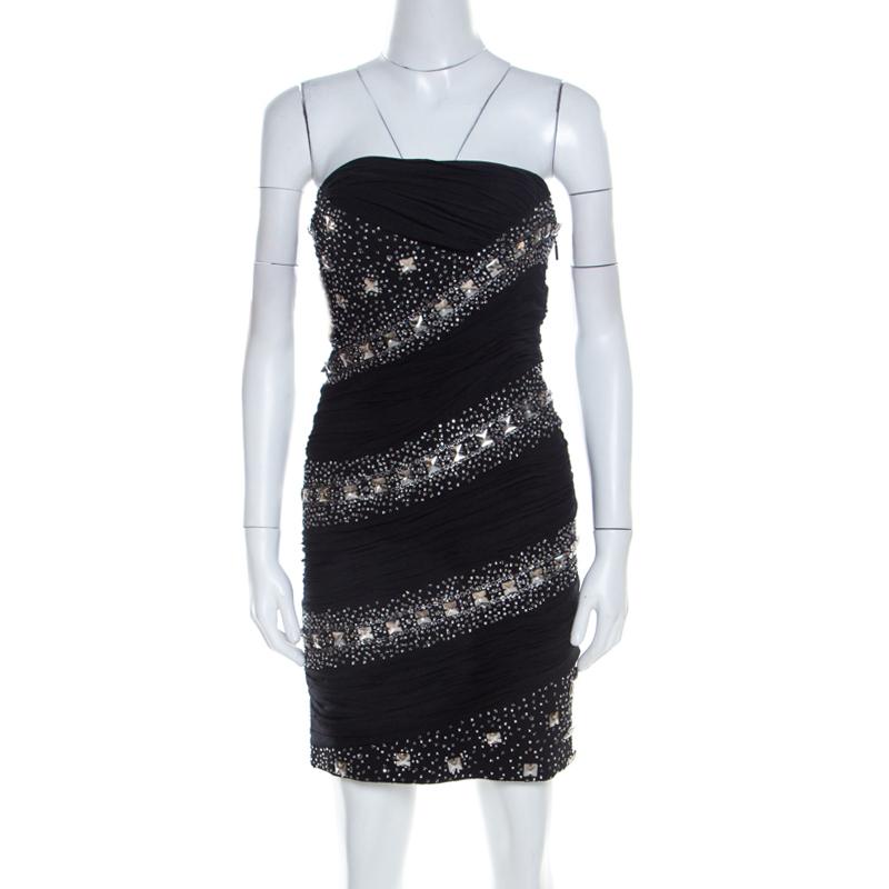 hot sale online e0584 aee90 Roberto Cavalli Black Embellished Silk Ruched Strapless Dress S