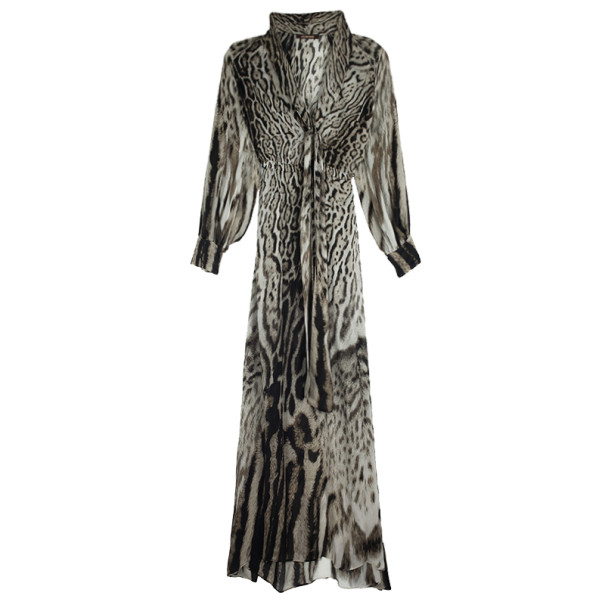 5486ff0f53 Buy Roberto Cavalli Animal Print Silk Maxi Dress L 21762 at best price