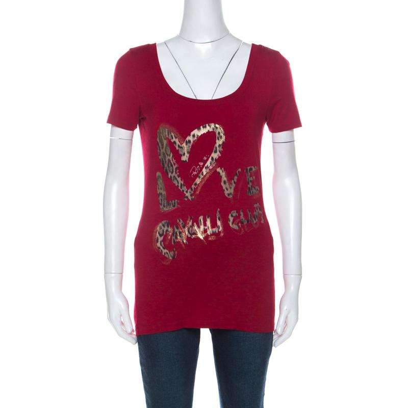 Roberto Cavalli Red Jersey Love Cavalli Club Metallic Print T Shirt M