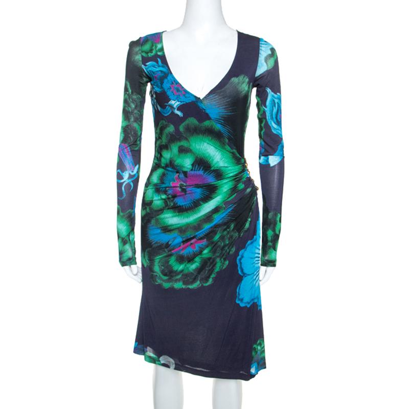 Roberto Cavalli Multicolor Floral Print Stretch Snake Wrap Dress S