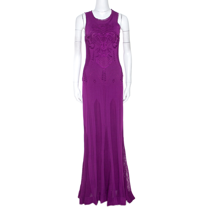 Roberto Cavalli Fuschia Crochet Knit Sleeveless Maxi Dress S In Purple