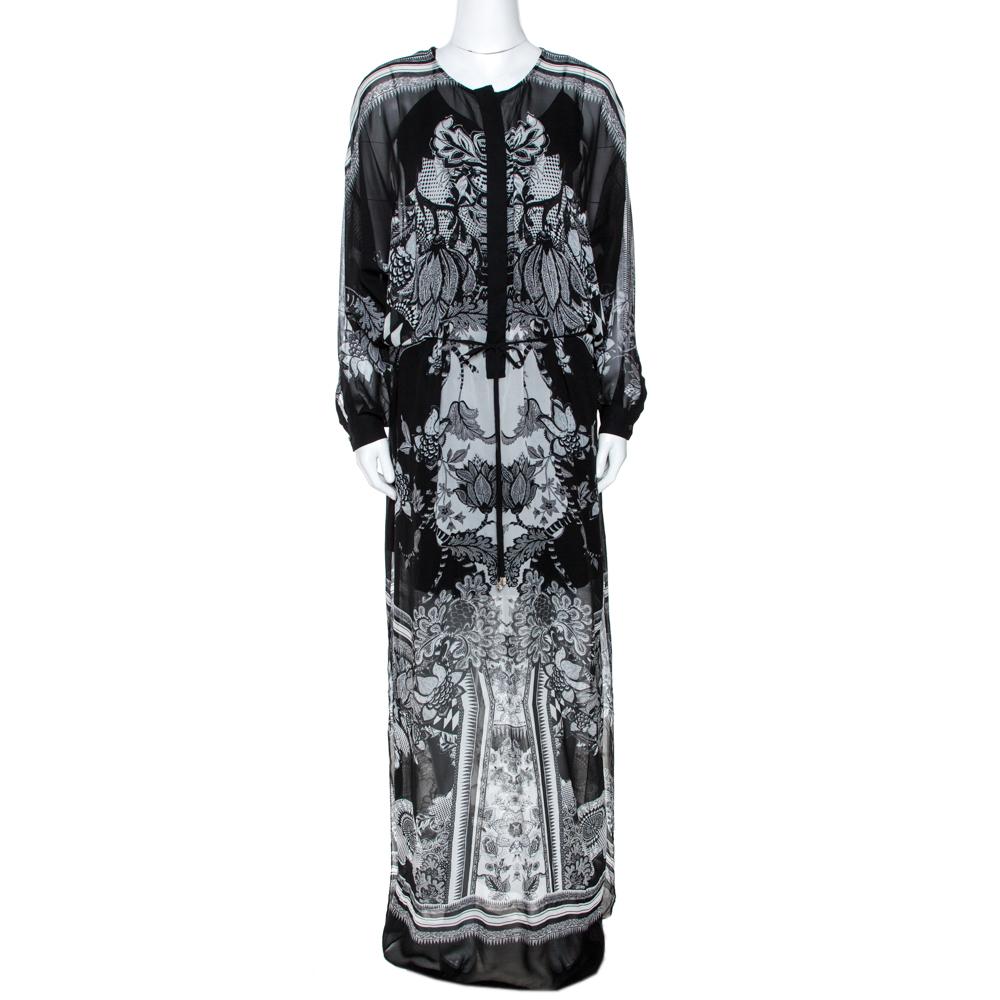 Roberto Cavalli Monochrome Floral Print Silk Kaftan Tunic S In Black
