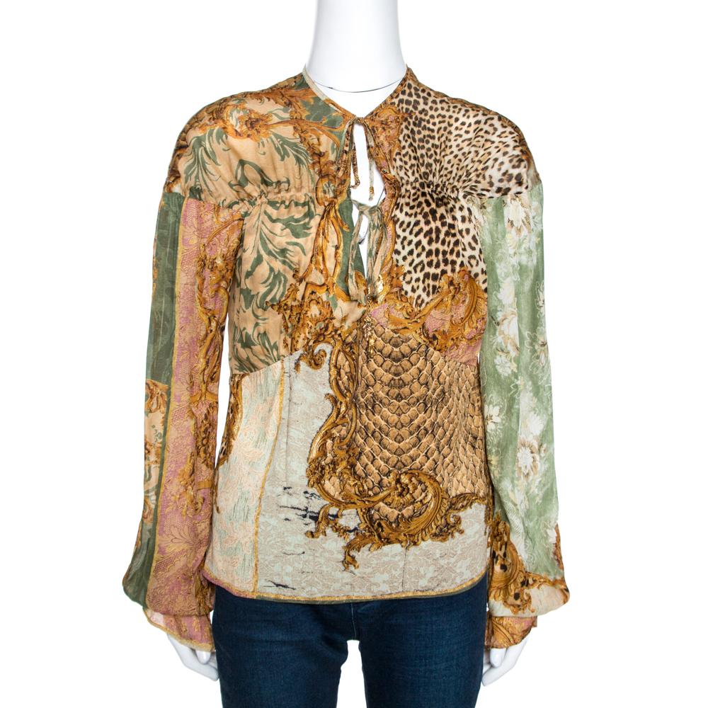 Roberto Cavalli Brown Glitter Print Silk Neck Tie Detail Top L