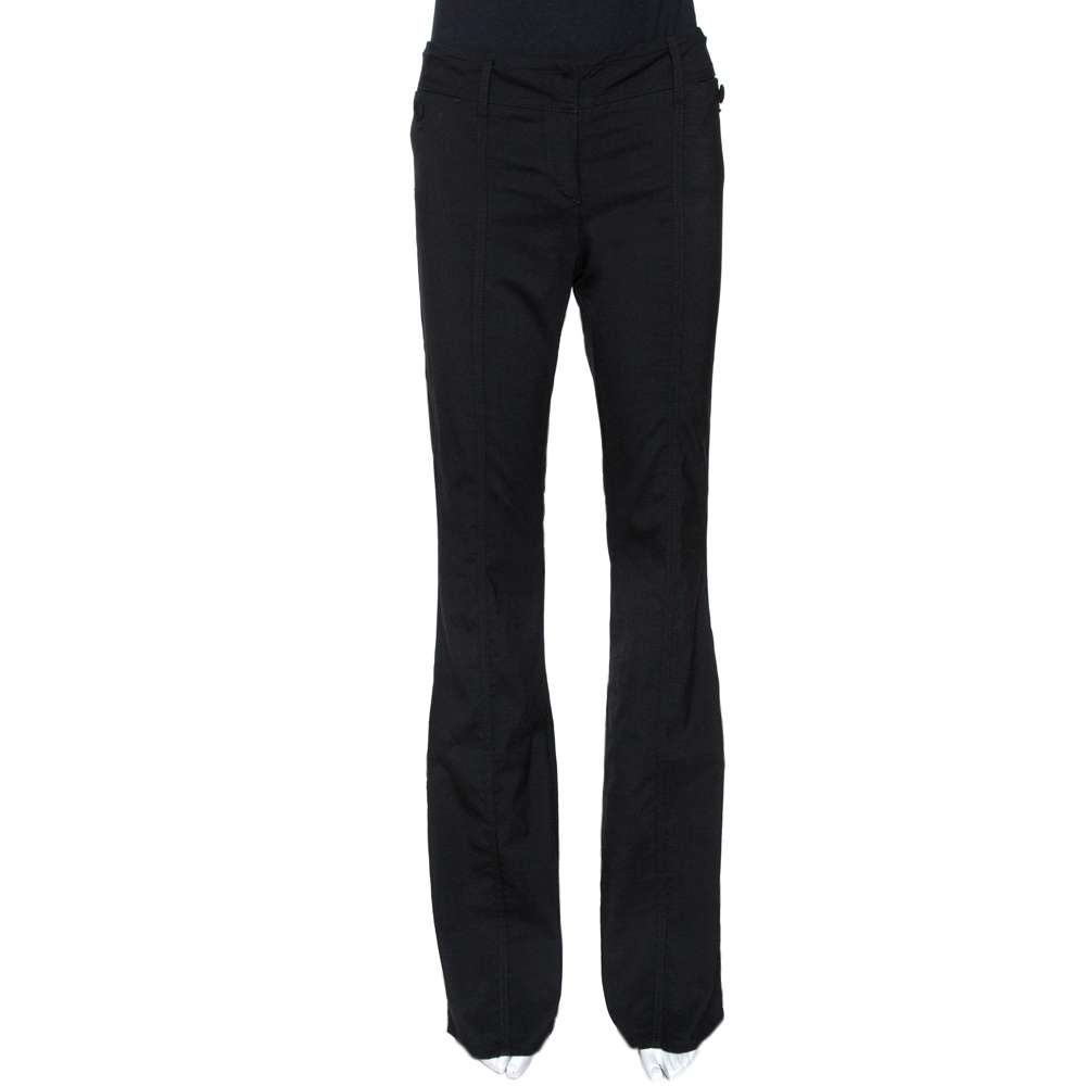 Roberto Cavalli Black Stretch Wool Tailored Flared Trousers M