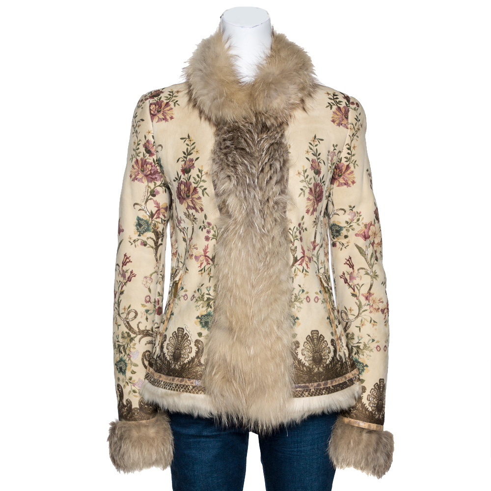 Roberto Cavalli Beige Floral Print Leather Fox Fur Lined Jacket M