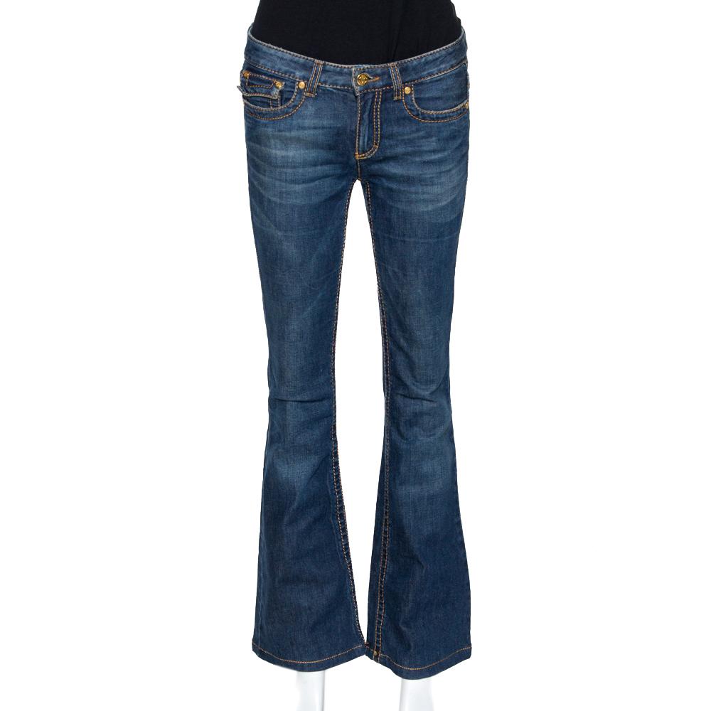 Roberto Cavalli Dark Blue Denim Medium Wash Flared Jeans S