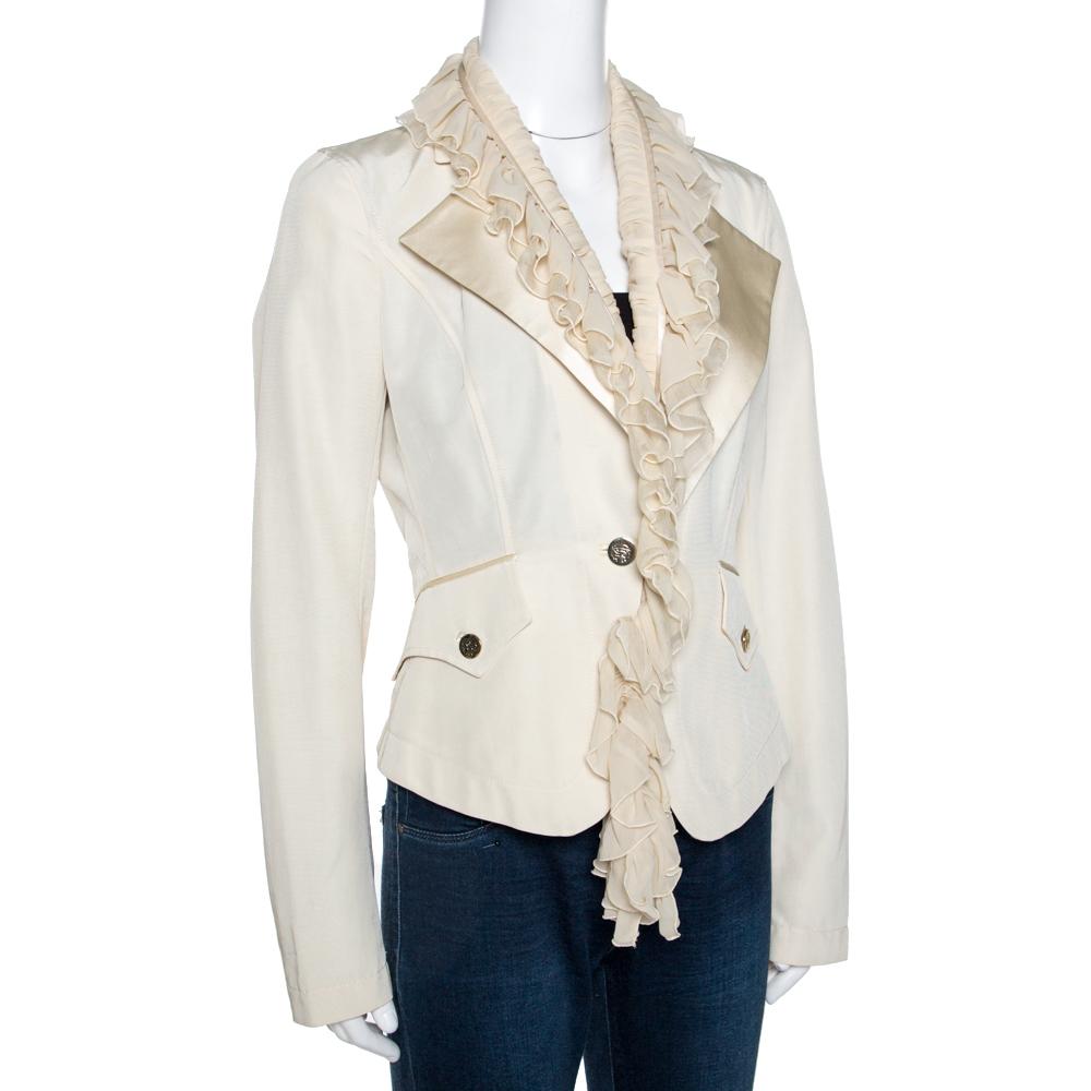 Roberto Cavalli Cream Cotton Blend Ruffle Detail Jacket M  - buy with discount