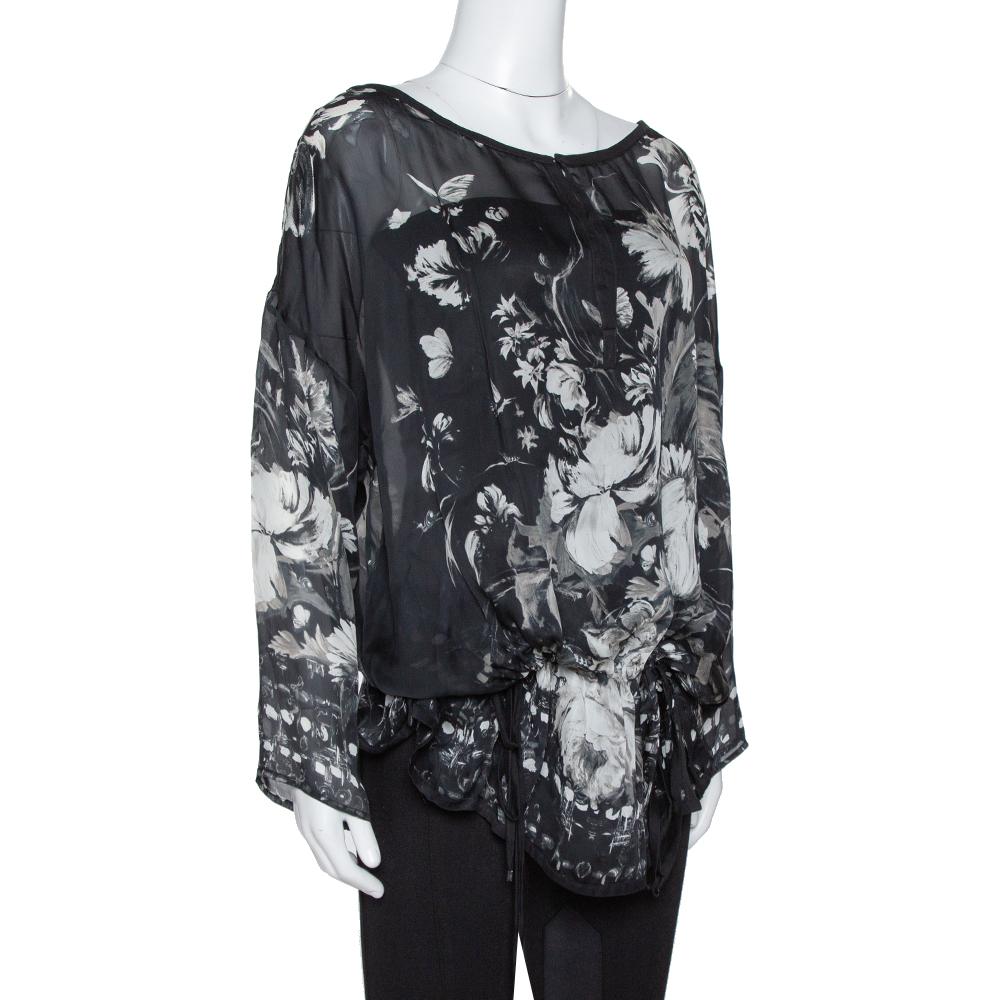 Roberto Cavalli Black Floral Print Silk Sheer Kaftan Blouse S  - buy with discount