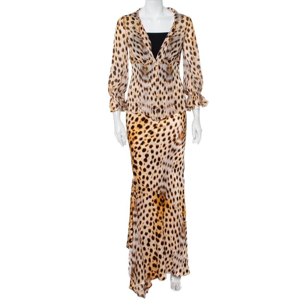 Pre-owned Roberto Cavalli Beige Animal Printed Silk Sheer Shirt & Asymmetric Hem Maxi Skirt S