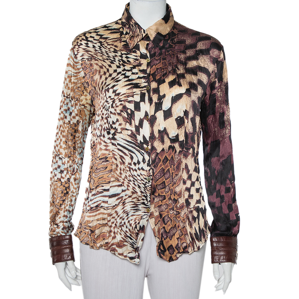 Pre-owned Roberto Cavalli Brown Animal Printed Silk Leather Trim Button Front Shirt Xl