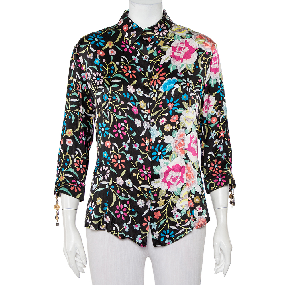 Pre-owned Roberto Cavalli Black Floral Printed Silk Satin Button Front Shirt Xl