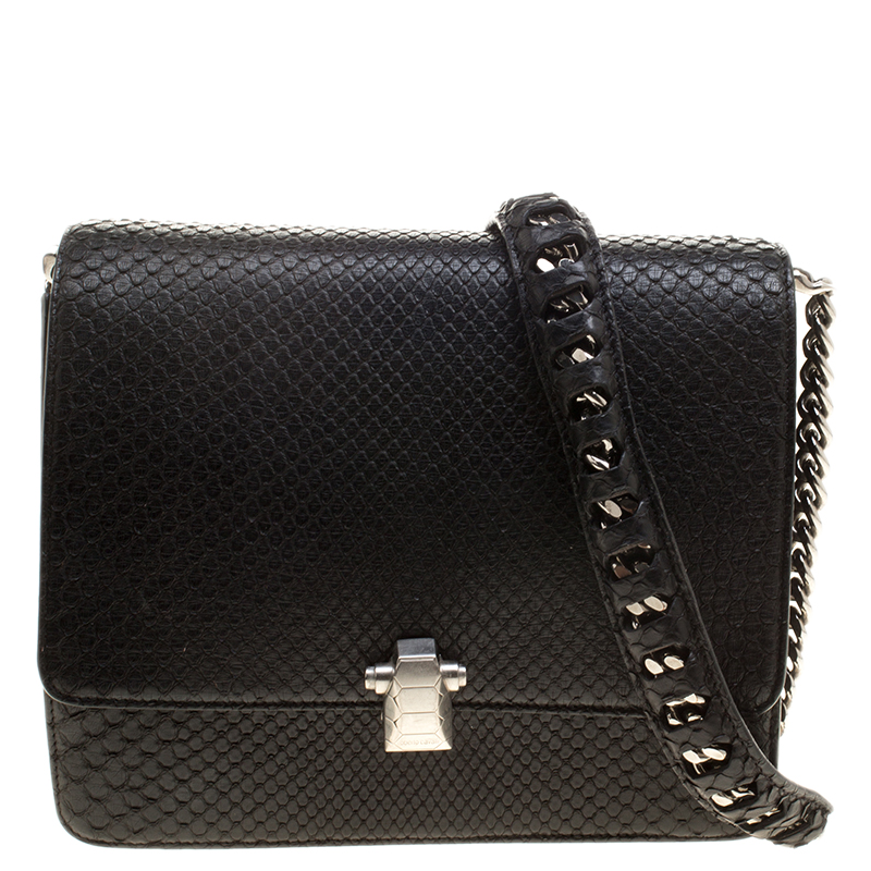 7db72ad975 Buy Roberto Cavalli Black Medium Python Hera Shoulder Bag 139152 at ...