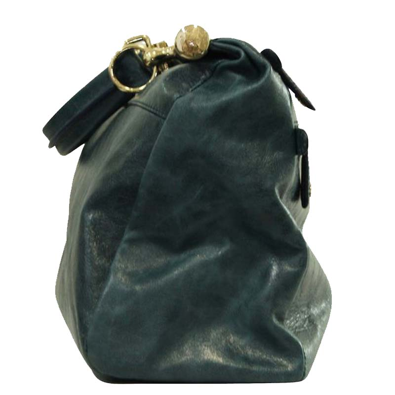 Roberto Cavalli Green Leather Wrinkles Large Tote  - buy with discount