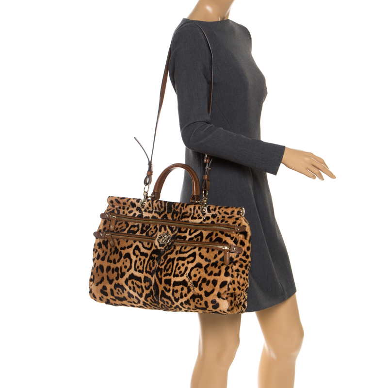Roberto Cavalli Brown Leopard Print Calfhair and Leather Grande Diva Satchel