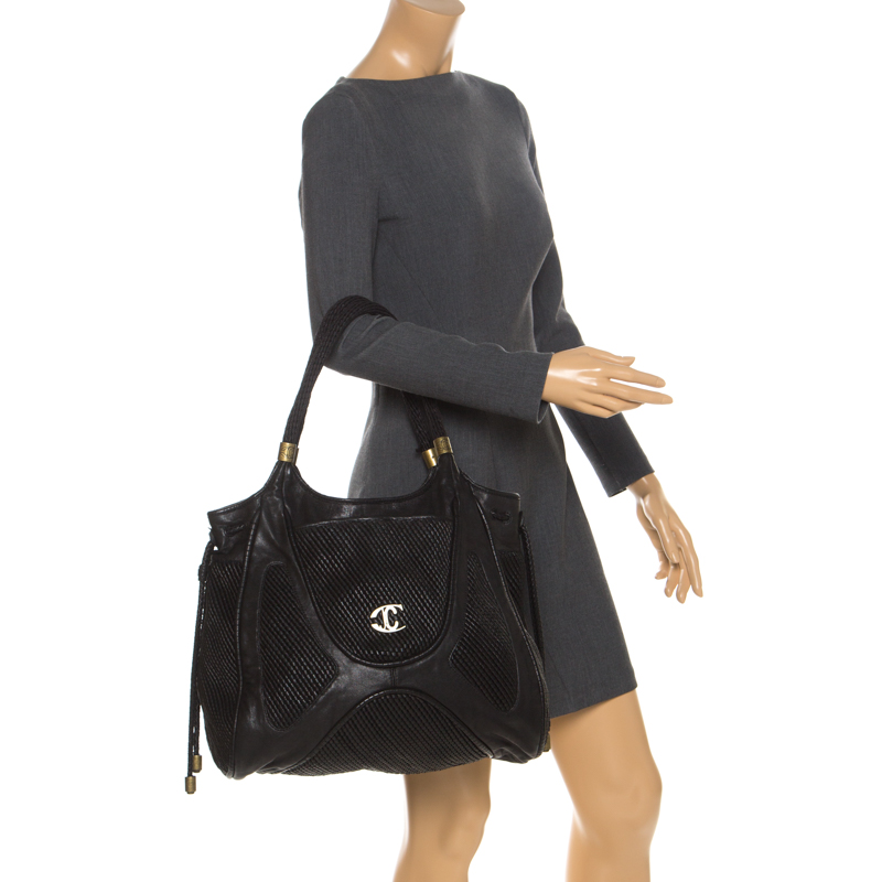 Just Cavalli Black Chain Link Leather Large Tote, Roberto Cavalli  - buy with discount