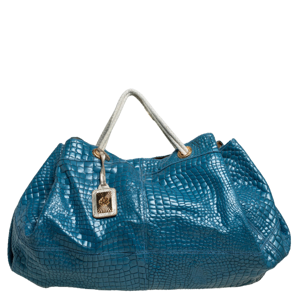 Pre-owned Roberto Cavalli Blue/white Croc Embossed Leather Hobo