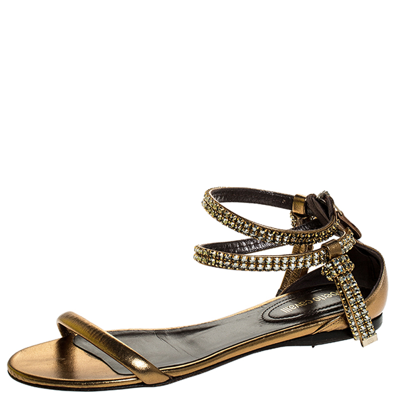 Roberto Cavalli Bronze Leather Crystal Embellished Ankle Strap Flat Sandals Size 38 In Metallic