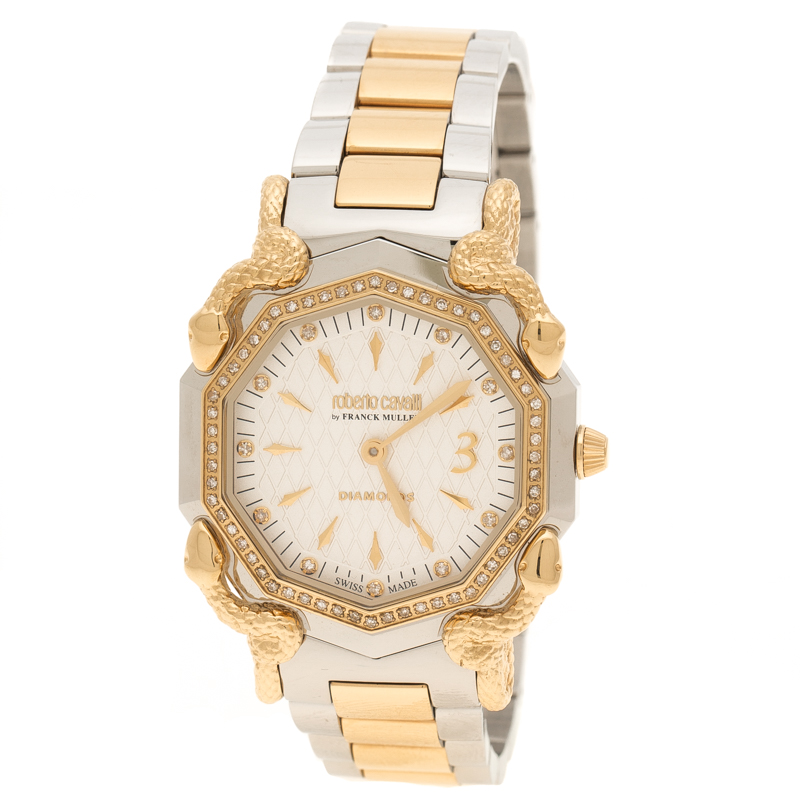Roberto Cavalli Silver Cream Gold Plated Stainless Steel Diamonds by Frank Muller Women's Wristwatch 36 mm