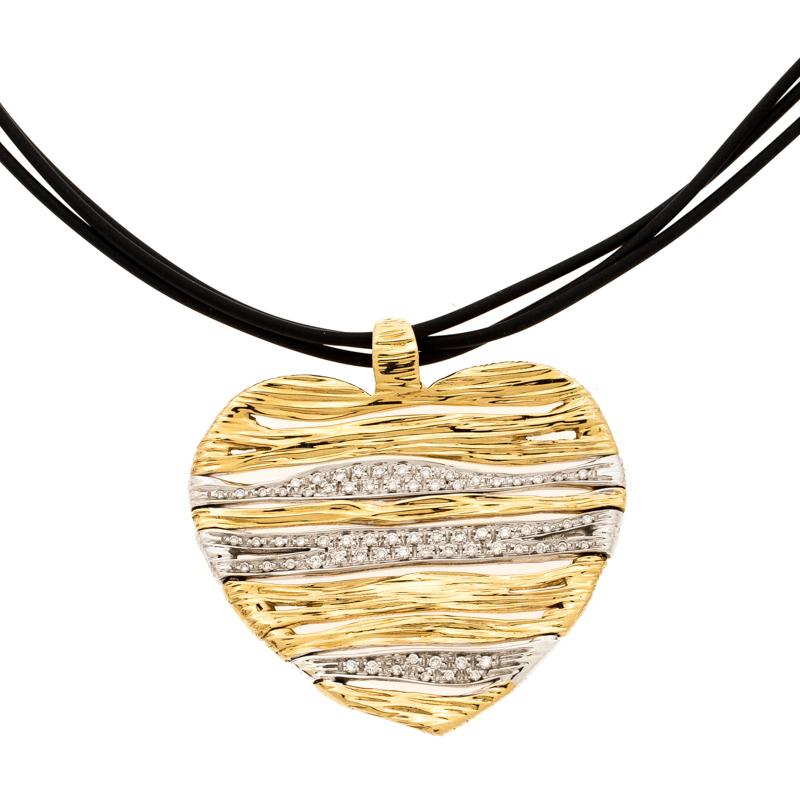 Roberto Coin Heart Diamond Textured 18k Two Tone Gold Flexible Pendant Cord Necklace