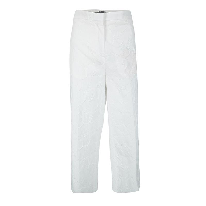Rochas White Cotton Jacquard Cropped Wide Leg Trousers L
