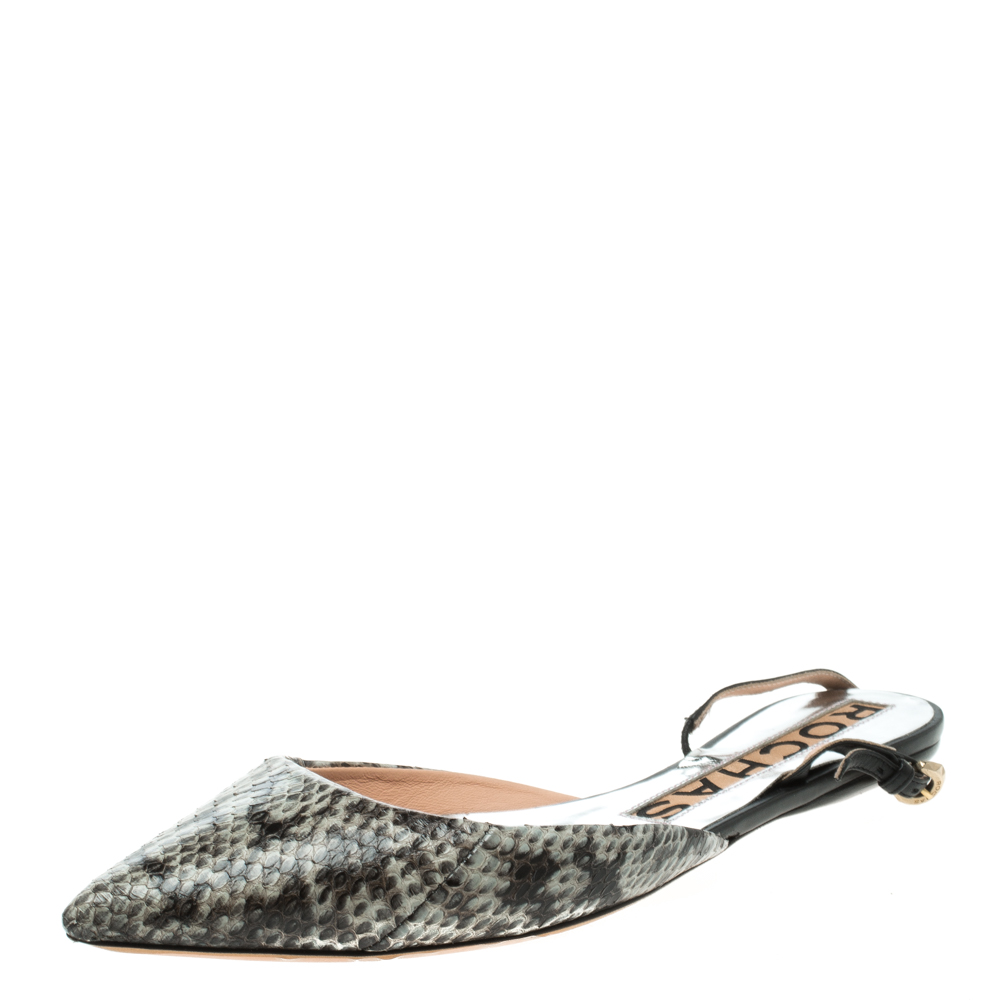 Rochas Two Tone Python Leather Pointed Toe Flats Size 38