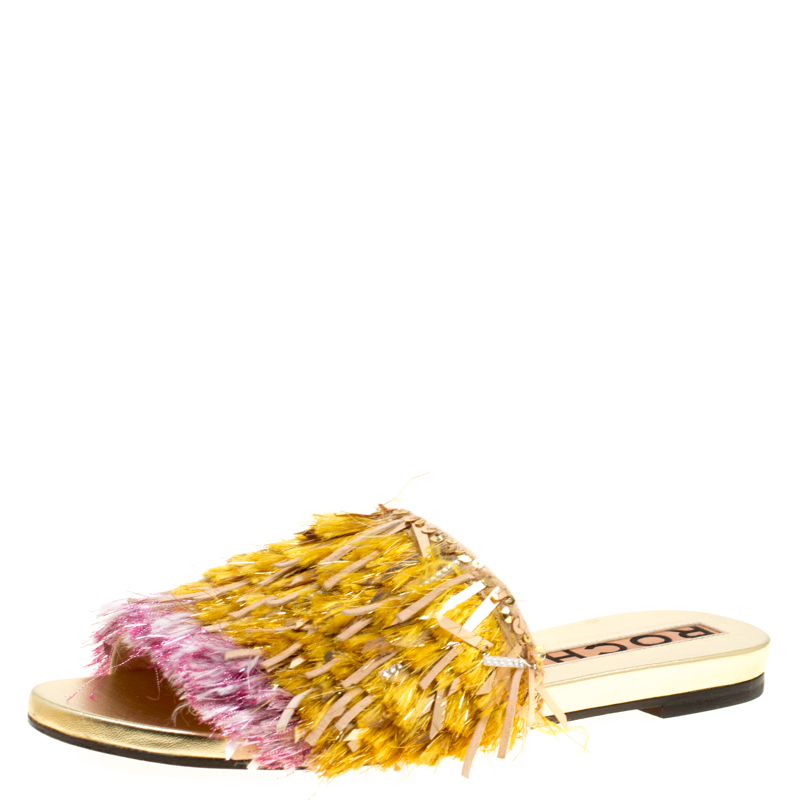 Rochas Multicolor Fringe Embellished Flat Slides Size 39