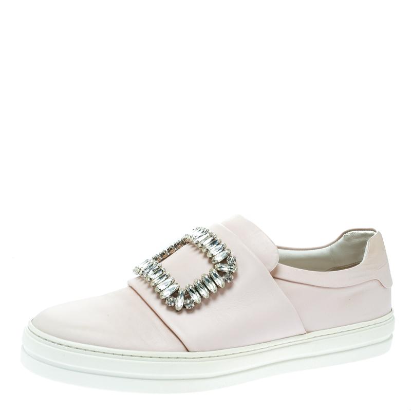 Roger Vivier Blush Pink Leather Sneaky Viv Embellished Slip On Sneakers Size 38.5