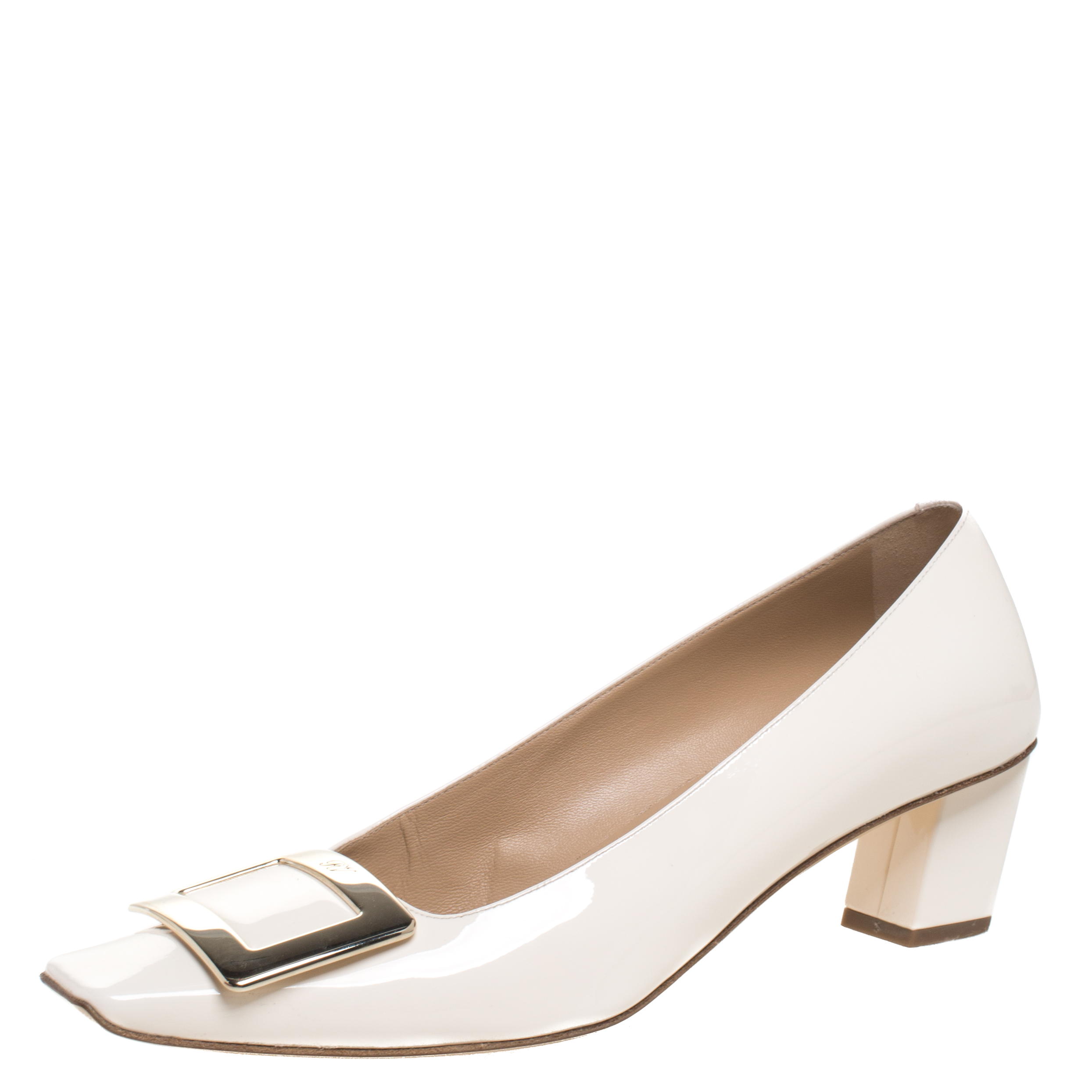 Roger Vivier Off White Patent Leather
