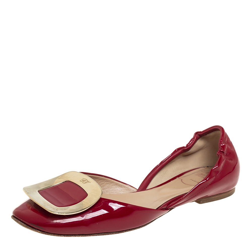 Pre-owned Roger Vivier Red Patent Leather Chips D'orsay Buckle Flats Size 35.5