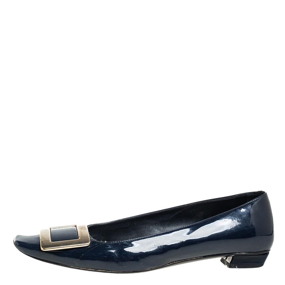 Roger Vivier Navy Blue Patent Leather Trompette Ballet Flats Size 37.5