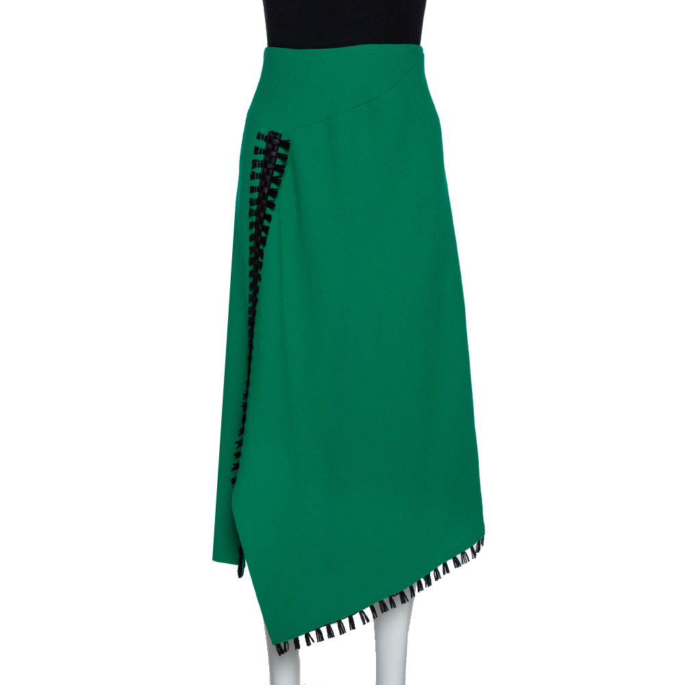 Pre-owned Roland Mouret Green Wool Crepe Fringed Asymmetric Skirt M