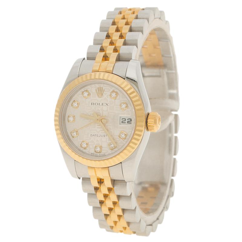 1a74498b1 إشتري ساعة يد نسائية رولكس ديت جست ستانلس ستيل وذهب أصفر بيضاء 26 مم ...