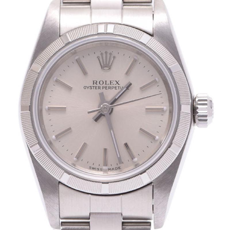 Rolex Silver Stainless Steel Oyster Perpetual Women\u0027s Wristwatch 24MM