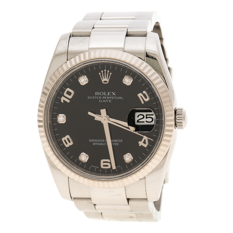 f5c36159675 Buy Rolex Black Stainless Steel Oyster Perpetual Date 115234 Women's ...