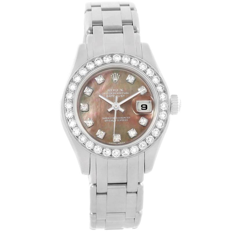 Rolex MOP 18K White Gold Diamond Pearlmaster Women\u0027s Wristwatch 29MM