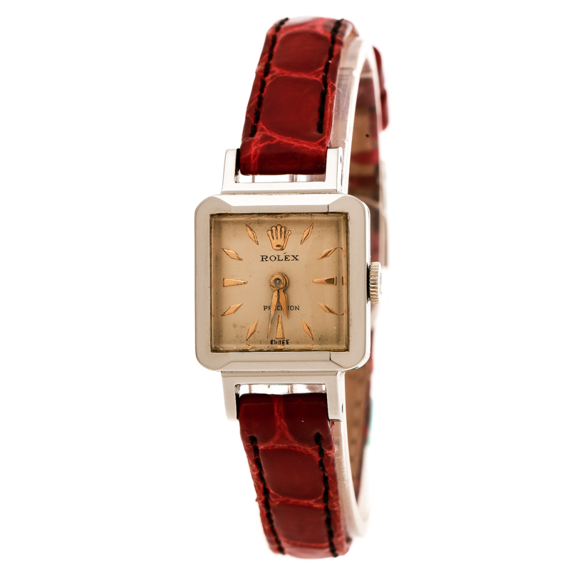 Rolex Cream Stainless Steel Vintage Precision 9158 Women's Wristwatch 17 mm