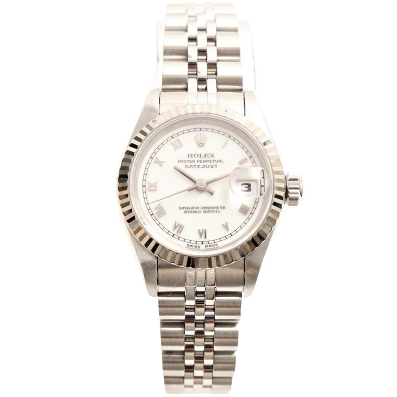 Rolex White 18K White Gold and Stainless Steel Datejust Women\u0027s Wristwatch  26MM