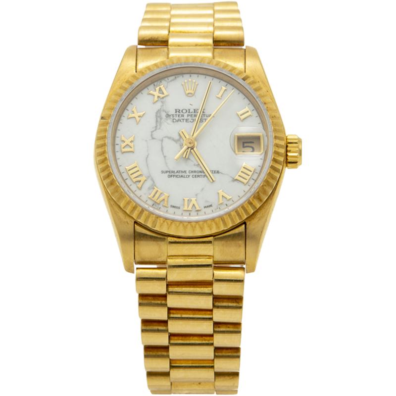 Rolex White 18K Yellow Gold Date Just President Bracelet Women\u0027s Watch 31MM