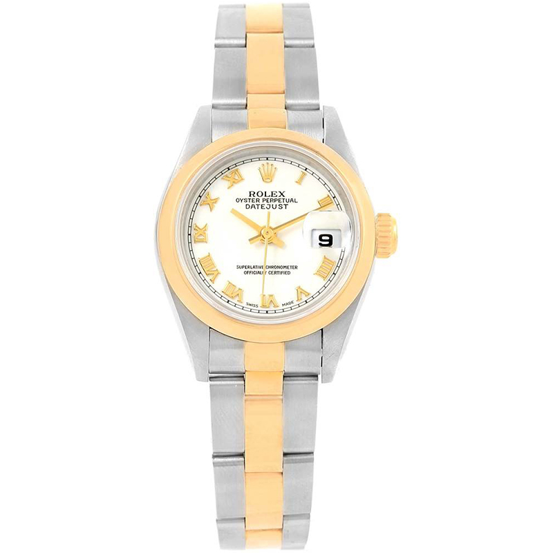 Rolex White 18K Yellow Gold and Stainless Steel Datejust 69163 Women\u0027s  Wristwatch 26MM
