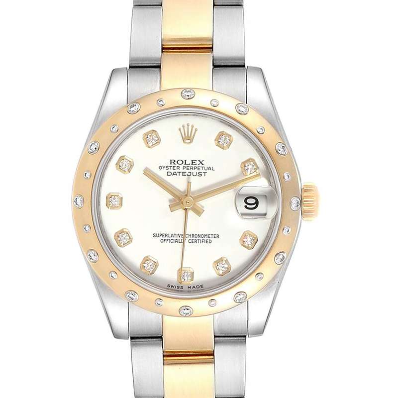Rolex White 18K Yellow Gold and Stainless Steel Diamond Datejust Midsize