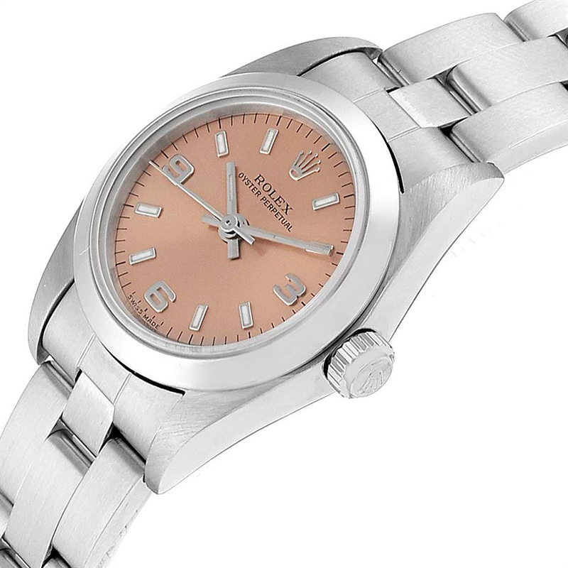 Rolex Salmon Stainless Steel Oyster Perpetual, Pink
