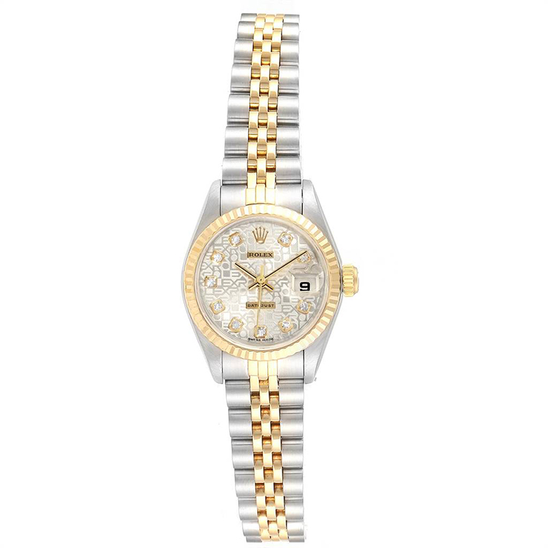 Rolex Silver Diamond 18K Yellow Gold and Stainless Steel Datejust 69173 Women's Wristwatch 26MM