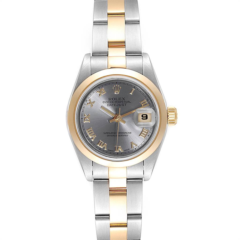 Rolex Slate 18k Yellow Gold And Stainless Steel Datejust 69163 Women's Wristwatch 26mm In Silver