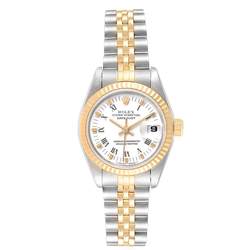 Rolex White 18k Yellow Gold And Stainless Steel Datejust 69173 Women's Wristwatch 26mm