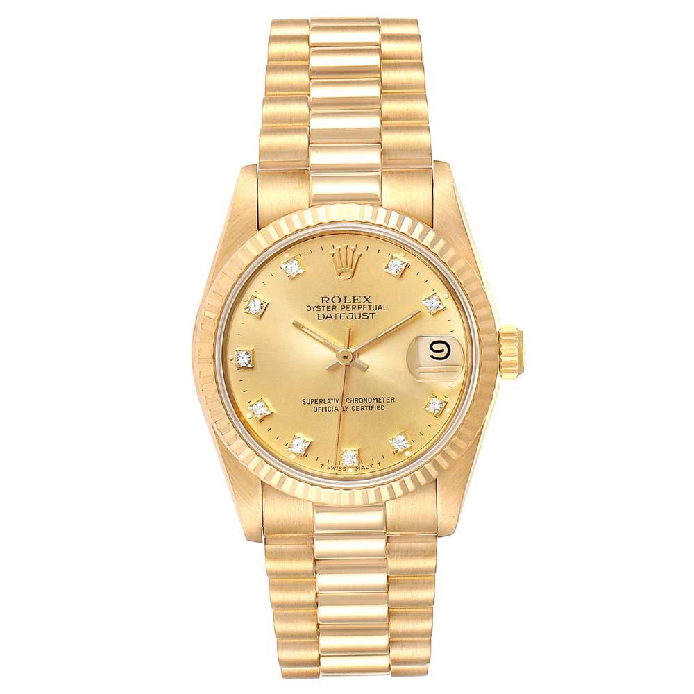Rolex Champagne Diamonds 18K Yellow Gold President Datejust 68278 Women's Wristwatch 31 MM
