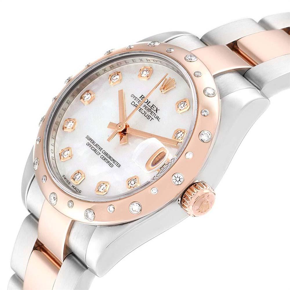 Rolex MOP Diamonds 18K Rose Gold And Stainless Steel Datejust 178341 Women's Wristwatch 31 MM