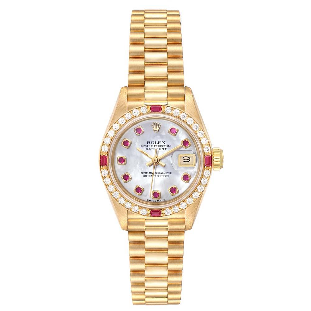 Rolex MOP Ruby And Diamond 18K Yellow Gold Datejust President 69068 Women's Wristwatch 26 MM