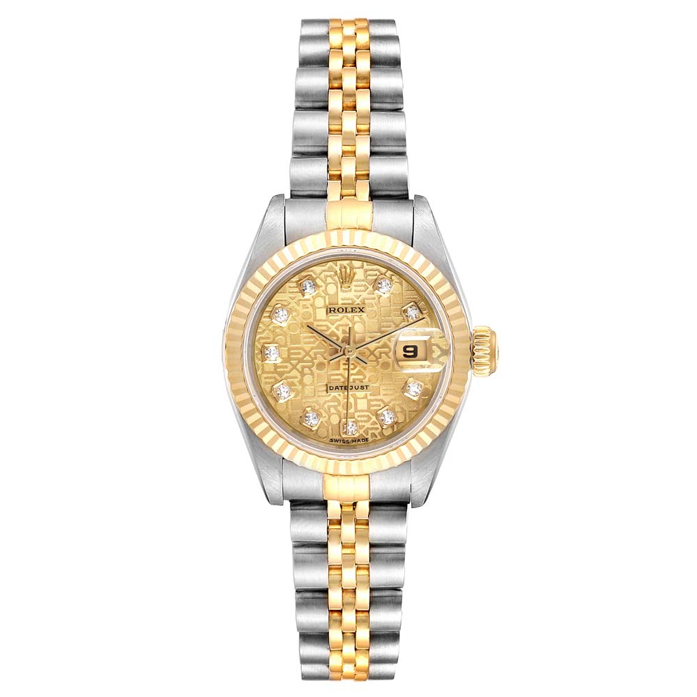 Pre-owned Rolex Diamonds Champagne 18k Yellow Gold And Stainless Steel Datejust Automatic 69173 Women's Wristwatch 2