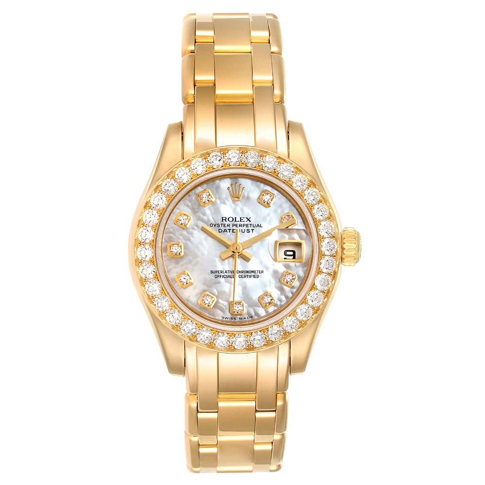 Pre-owned Rolex Mop Diamonds 18k Yellow Gold Pearlmaster 80298 Women's Wristwatch 29 Mm In White
