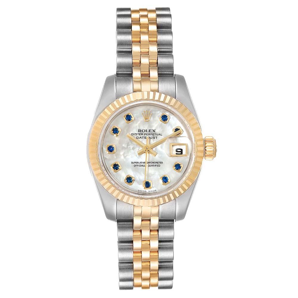 Rolex MOP Sapphire 18K Yellow Gold And Stainless Steel Datejust 179173 Women's Wristwatch 26 MM